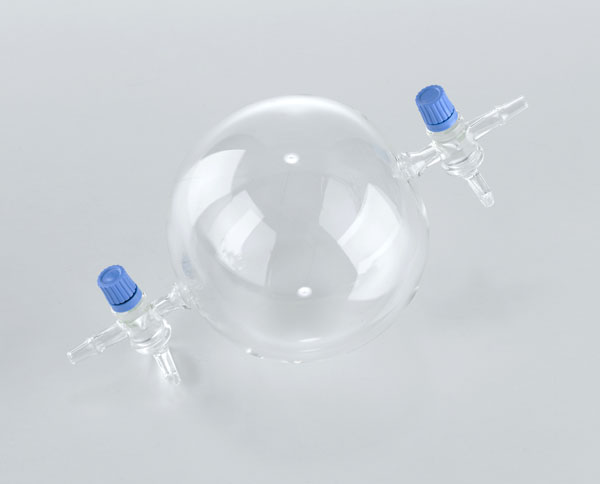 Sphere with 2 stopcocks, glass, 1 l