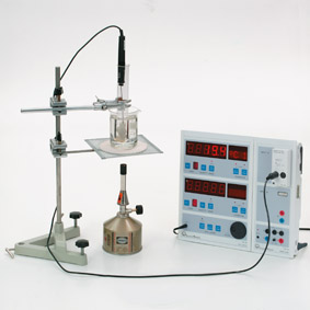 Determining the melting and the solidification temperature/candle wax - Measurement with Sensor-CASSY and CASSY-Display